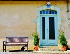 The Bench, the Cat and the Door (Tinina67) Tags: door light red house plant black france cat bench square grey shadows together tiles tina challenge odc wtmw totw seissan tinina67 aumarron