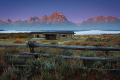 Teton Sunrise At The Cunningham Ranch (wrtrekker (Jerry T Patterson)) Tags: lake water reflection ocean sea island sunset sunrise dusk dawn twilight tetons tour guidedtour mountains flowers wildflowers spring summer park parks tnp ynp west horse western jackson wyoming jackson hole cowboys ranch camp camping hike hiking photo photoshoot patterson lupine balsamroot muleears elk antelope pronghorn snakeriver moose wildlife bear grizzly lodge willow willowflats bison buffalo travel vacation rv canon 60d flick 500px 72dpi google landscape