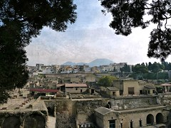 excavations of Herculanium with a panoramic view of  Ercolano and Vesuvius (jjamv) Tags: travel italy art heritage texture archaeology architecture temple volca