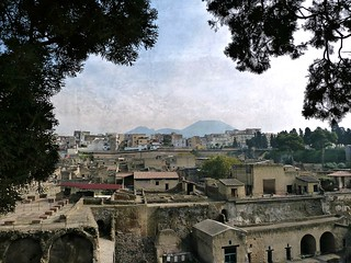 excavations of Herculanium with a panoramic view of  Ercolano and Vesuvius