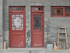 Doors with Tools (mikecogh) Tags: peeling paint doors traditional beijing tools local ladder hutong neighbourhood broom