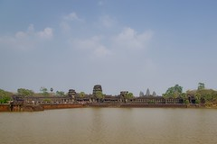 West entrance to Angkor Wat with moat near Siem Reap, Cambodia
