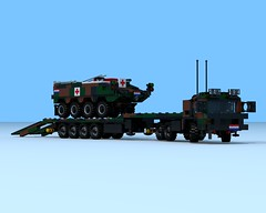 Boktor-2 Armored Personnel Carrier Ambulance on transport by a M.A.N. 453 with semi-trailer (The Driving Dutchman) Tags: red man by army with cross lego military transport ambulance armored carrier redcross povray personnel semitrailer 8x8 ldd 453 ldd2povray man4536x6 boktor2