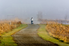 A Man His Dog & Camera Will Travel (James P. Mann) Tags: camera dog man fog sunrise river foggy sunny petitcodiac