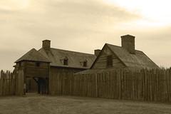 Stockade and gate - HFF! (RPahre) Tags: monochrome minnesota sepia fence mono fort tradingpost hff grandportage ojibwe anishinaabe grandportagenationalmonument northwestcompany grandportagebandofchippewaindians mnisotamakoce