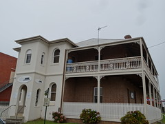 Eden. Bank of NSW. Erected in 1903. Now a residence. A Bank of NSW opened in 1840s in Eden (denisbin) Tags: tower church boats ruin bank eden snugcove anglican fishingfleet unitingchurch benboyd boydtown seahorseinn twofoldbay