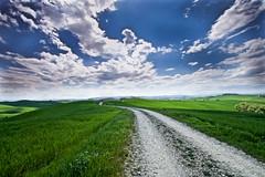 TUSCANY (gazzettinopadano) Tags: blue sky white verde green clouds strada blu country hill campagna cielo crete siena toscana bianco senesi