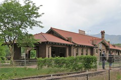The Santa Fe Station in Canon City (Patricia Henschen) Tags: canoncitycolorado canoncity santafe colorado depot station railroadequipment railroad railroadstation railyard railway theroyalgorgeroute sightseeing excursion excursiontrain usroute50