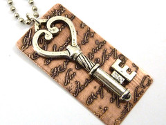 Silver Key over Copper Script Necklace ~SOLD~ (A Twist of Whimsy Artisan Handcrafted Jewelry) Tags: etched vintage necklace key copper script