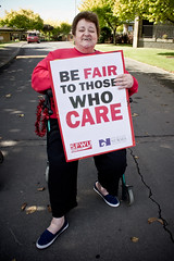 Caregiver joins her striking caregivers