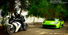 Bike vs Lambo (Abdulaziz ALKaNDaRi | Photographer) Tags: portrait cars beach bike race speed canon honda lens photography eos rebel high aperture exposure photographer shot quality bikes rr iso photograph hq length lamborghini ef 1000 cbr lambo 24105 fireblade focal 2011  abdulaziz      550d    t2i kesslercrane  alkandari   blinkagain  abdulazizalkandari