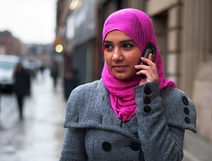 Girl in pink hijab (Charles Hamilton Photography) Tags: street pink portrait girl mobile 50mm glasgow hijab streetphotography streetportrait stgeorgescross nikond90