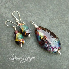 """Pendant & Earrings - Subtle Rainbow Shard on Purple • <a style=""""font-size:0.8em;"""" href=""""https://www.flickr.com/photos/37516896@N05/6829881618/"""" target=""""_blank"""">View on Flickr</a>"""