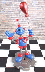 Birthday Robot Cake Topper Miniature Sculpture Red and Blue with a Balloon (HerArtSheLoves) Tags: blue fiction red sculpture smiling cake happy robot mixed holding media handmade ooak balloon gear science clay topper gripping polymer coiledwire