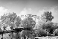 Monochromatic Landscape (Edwin van Nuil Photography) Tags: bridge winter snow ice blackwhite photowalk zwolle winterwonderland geocity exif:iso_speed=100 exif:focal_length=24mm exif:make=sony camera:make=sony geostate geocountrys exif:aperture=80 nex7 sonynex7 zeisssonnarte24mmf18za camera:model=nex7 exif:model=nex7 exif:lens=e24mmf18za