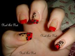 Francesinha estilizada (NailArtNat) Tags: cute art glitter nail vermelho vermelha unha oncinha francesinha artística brilhante decorada