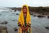 Portrait: Zikri young girl, Mubarak Village, Karachi (Ameer Hamza) Tags: pakistan people beach water girl hands village dress single karachi sindh wanderer mubarak zikri kpc attire ppa baloch zikris ameerhamzaphotography