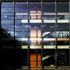 facade (morbs06) Tags: shadow orange glass lines architecture stairs facade reflections germany square dusseldorf curtainwall derendorf