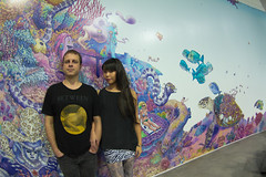 Us in front of our new mural (kozyndan) Tags: art animals digital pencil photoshop office losangeles mural underwater hollywood printed kozyndan coralreef marinelife theaudience