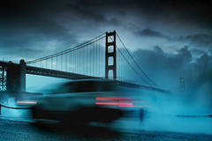 The Golden Gate Bridge - The Get Away (Andrew Louie Photography) Tags: sf california bridge winter light storm point golden bay gate san francisco waves moody fort sfo anniversary stormy area streaks 75 jazzy splashes