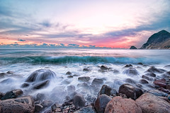 IHAMA Beach at full tide [Explore] (-TommyTsutsui- [nextBlessing]) Tags: longexposure winter light sunset sea sky orange seascape green beach nature rock japan landscape nikon purple tide scenic wave explore shore       izu  minamiizu sigma1020   onsalegettyimages