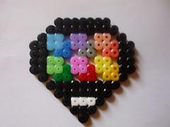 Buntes Herzchen - Perler Beads Heart (petuniad) Tags: beads hama perler prlplattor hamabeads perlerbeads strijkkralen bgelperlen buegelperlen