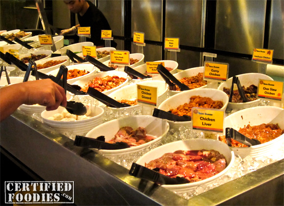 A lot of raw meats and fish are available for you, all were flavored or marinated already - CertifiedFoodies.com