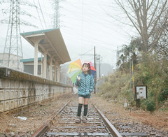 Stand by Me (Toyokazu) Tags: railroad family portrait girl rain station kids train umbrella child railway pentax67
