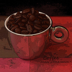 ~ Freshly Ground Heaven ~ (njk1951) Tags: texture cup coffee coffeebeans anytime tazza coffeetime mirrorfinishcoffeecup freshlygroundheaven espressoespressocup