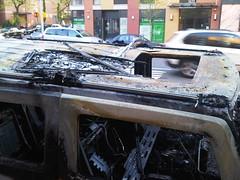 Hood of burnt H2 (nabeeloo) Tags: nyc ny newyork car fire drive driving harlem manhattan burn hummer h2 hummvee hmmvv