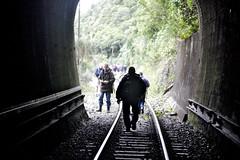 When the trains don't go, the people still go. (feefoxfotos) Tags: light train dark traintracks woodville railwaystracks feefoxfotos woodvillelionstracktunnelwalk