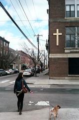 (Jacob Seaton) Tags: road street sky dog philadelphia church girl clouds walking women cross walk pug purse leash crosswalk lianerobinson