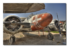 Old Bird (CameraOne) Tags: old airplane nose raw aircraft tripod transport wideangle landinggear weathered canon5d propellers peelingpaint hdr airmuseum chino relic topaz planesoffame californina flyingmachine photomatix radialengines cameraone cs5 canonef1740mm excapture threeimagehdr singleprops