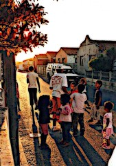 Township kids at play. (Shlin) Tags: street sunset kids children southafrica shadows capetown township capeflats mitchellsplain 10oct2008