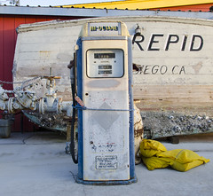 Hi-Octane (rschnaible) Tags: ca old northerncalifornia yellow nikon antique gas morrobay bags norcal gaspump
