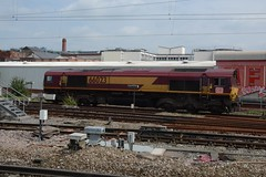 "English Welsh & Scottish Railways Liveried Class 66/0, 66023 (37190 ""Dalzell"") Tags: gm shed db northwestern revised wigan generalmotors class66 ews 66023 maroongold class660 englishwelshscottishrailways dbcargorail"