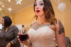 (heatherbirdtx) Tags: wedding portrait color bride eyes wine pov candid interior flash tattoos reception