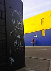 Street art in Northcote Melbourne (Melbourne Streets Avant-garde) Tags: urban streetart playing art girl wall graffiti child sad crying australia melbourne northcote