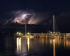 Beautiful Chaos (KM Preston Photography) Tags: longexposure sky storm water weather night clouds river landscape waterfront cloudy thunderstorm lightning extremeweather indianriver sebastianfl lightningstorm indianrivercounty kmprestonphotography 201605151313023