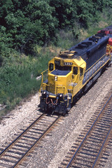 Santa Fe SD45 #5357 rolls westbound  at Wilbern IL on 6-15-96 (LE_Irvin) Tags: santafe sd45 wilbernil