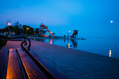 0017 (mikikkkeee) Tags: blue light sky people moon lake reflection beach water lamp canon bench slide lakeside moonlight