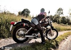 Mel on Yamaha (Mr.Whit3) Tags: yamaha girl xv250 virago bike motorcycle chopper photo shooting nature sun summer