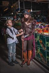 Steampunk Girl goes to Market (Photobaan) Tags: street hat fashion cane model market top urchin begging steampunk 2016 thaithailand
