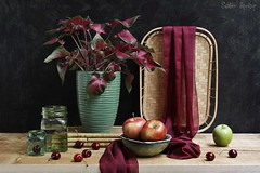 Summer Has Two Beginnings... (Esther Spektor - Thanks for 11+ millions views..) Tags: red summer stilllife plant black reflection green art apple water glass fruit composition canon cherry table stand wooden stem beige ceramics availablelight burgundy maroon stilleben bowl pot pottedplant jar tray drape arrangement caladium bodegon naturamorta naturezamorta creativephotography artisticphoto naturemorta estherspektor