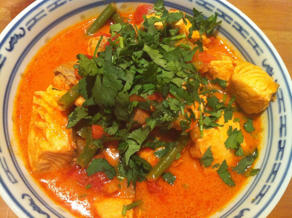 Red Thai Curry with Salmon & green beans by franksteiner, on Flickr