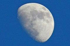 Waxing Gibbous Moon 5:24pm (DaveJC90) Tags: blue light shadow sky moon white detail dark evening early nikon day afternoon bright sharp craters crater crop round planet shape phase 73 waxinggibbous complete sharpness s9100