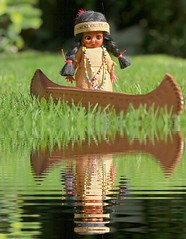 """ Oh no... where's my paddle! "" (jillybug ~) Tags: vintage doll indian canoe souvenir knickerbocker 1052 adaw landportage"