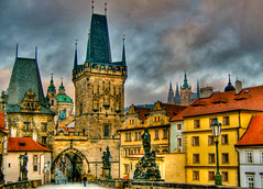 Prague Czech Republic - Charles Bridge and Lesser Town Towers (mbell1975) Tags: world bridge heritage mos town site europe day republic czech prague cloudy towers eu prag charles praha unesco lesser hdr whs karlv karlsbrcke