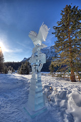 Sculpture (mschroeter140) Tags: flowers winter sunset panorama mountain lake snow canada mountains tree ice animals river hotel nikon jasper rocky sigma louise banff rockymountains 28 chateau hdr fairmont 1750mm d7000