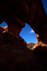 Moab Archway (albinobobman) Tags: park summer hot outdoors rocks arch desert arches hike national moab